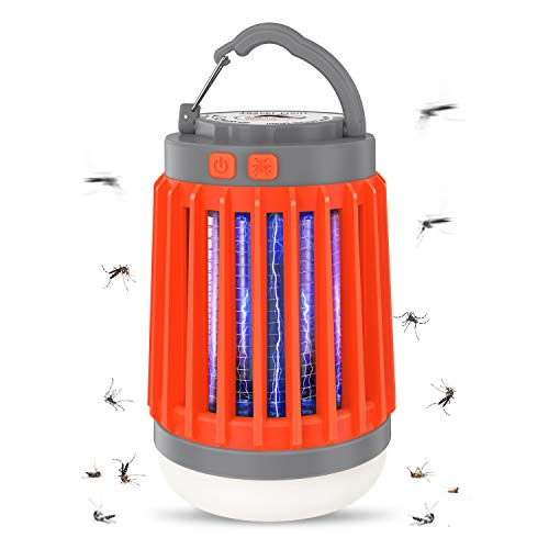 Aerb 3 en 1 Linterna Antimosquitos Eléctrica, lámpara Camping Antimosquitos con 5 Modos de Brillo,USB Recargable y IP67 Impermeable, UV Luz Asesino de Mosquitos, Ideal para Llevar de Camping