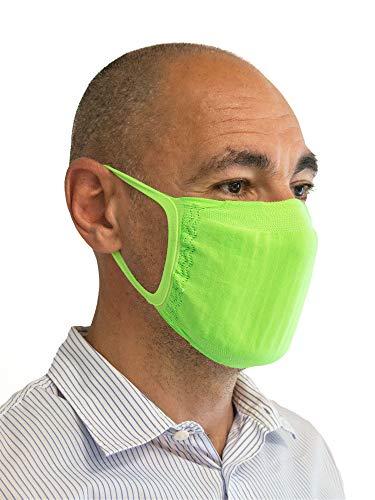 Relaxsan - Set 3 [Verde Fluo] Bandas filtrantes Rostro Boca Nariz Lavables Reutilizables absorbentes Tejido bacteriostático