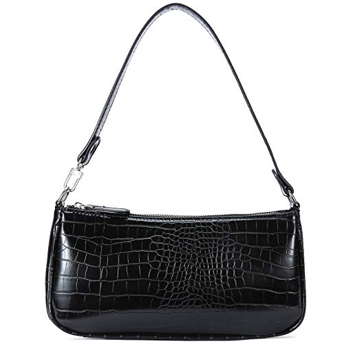 Small Shoulder Bags for Women Mini Handbags with Croc Pattern (Black with Leather Strap)