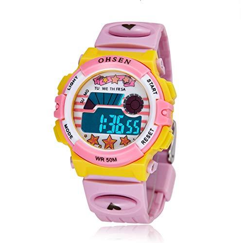 Ohsen Multi-Funktions-wasserdichte Hintergrundbeleuchtung Display Quarz Sport Unisex Kinder Uhr mit Stoppuhr/Datum/Alarm (1603 Pink)