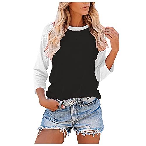여성용 가을 3 | 4 소매 티셔츠 탑스 패션 컬러 블록 캐주얼 크루넥트 루스 튜닉 블라우스 여성용