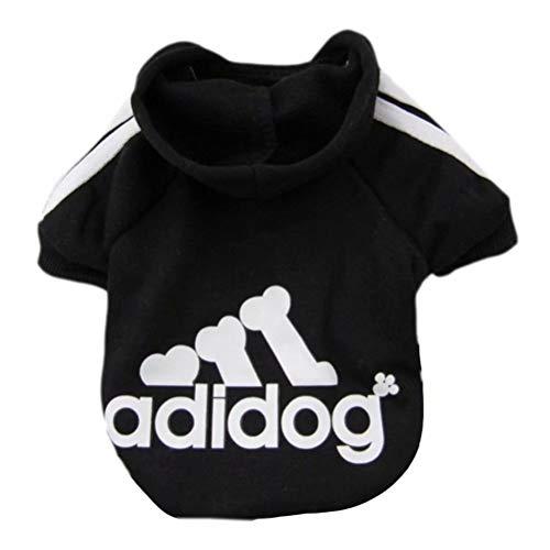 Scheppend Adidog Pet Dog Kleidung Wintermantel Jacket Cat Puppy Hoodie Pullover Baumwolle Kleidung für kleine Hunde(Schwarz,Gr.XS)