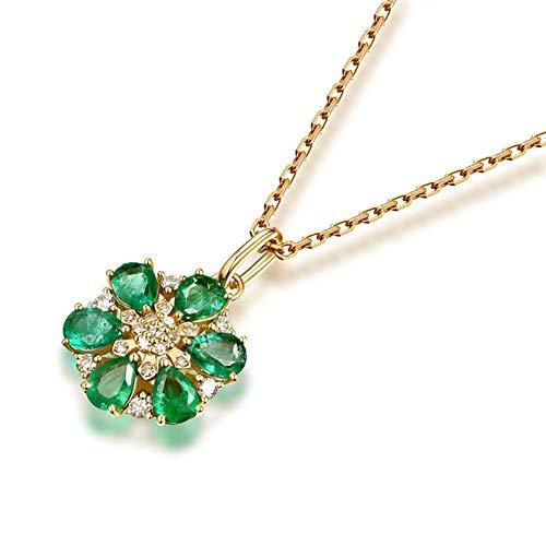 Daesar Collane Donna Oro Giallo 18K 0.85ct Smeraldo Diamante Verde Goccia Fiore Pera Ciondolo Collana Pietracollane Bambina Oro
