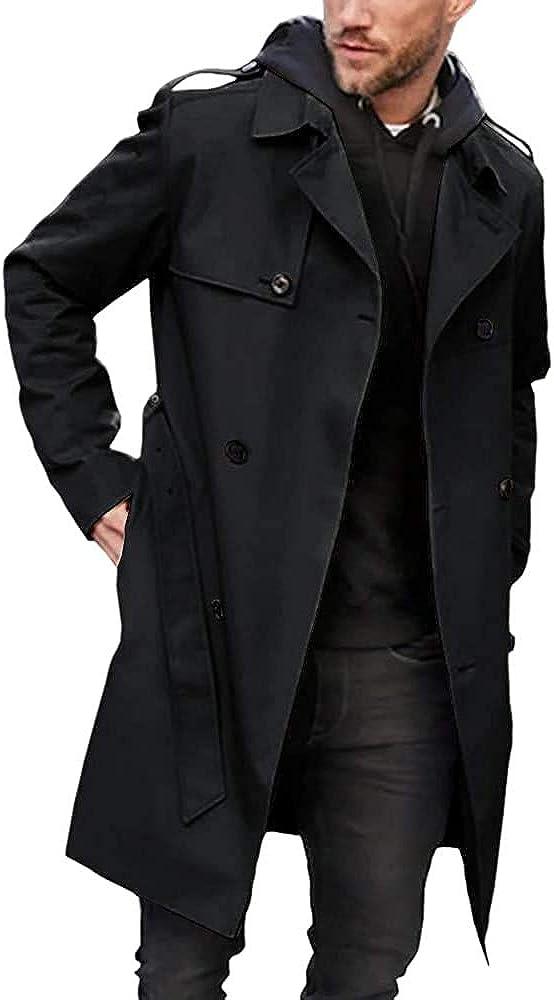 Men's Trench Coat Slim fit Double Breasted Belted Windbreaker Lapel Long Jacket Casual Windproof Overcoat