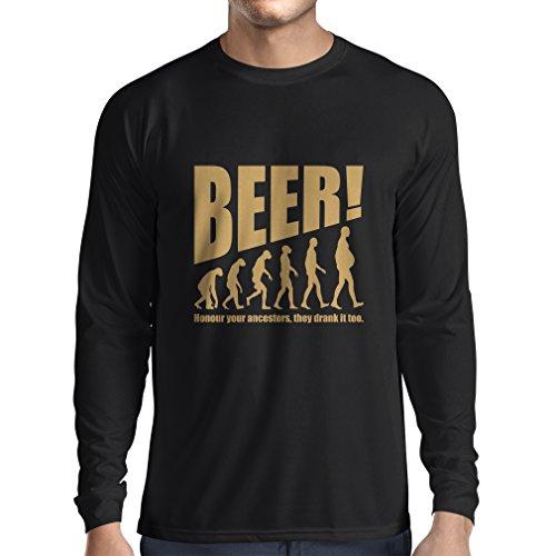 Camiseta de Manga Larga para Hombre The Beervolution - Ideas Divertidas únicas sarcásticas del Regalo para los Amantes de la Cerveza, evolución de consumición (XXX-Large Negro Oro)