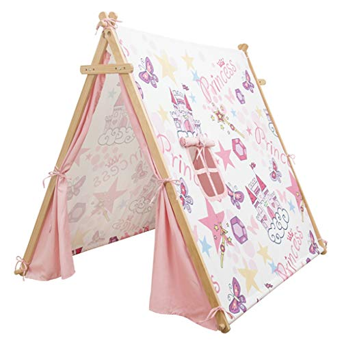 SZQ-Play Tents Children's Play Tent, House-like Teepee Pink Cartoon Castle Tent Girl's Dream Reading Corner Baby's Parent-child Playhouse Kids Teepee (Color : Pink, Size : 126 * 140 * 125CM)