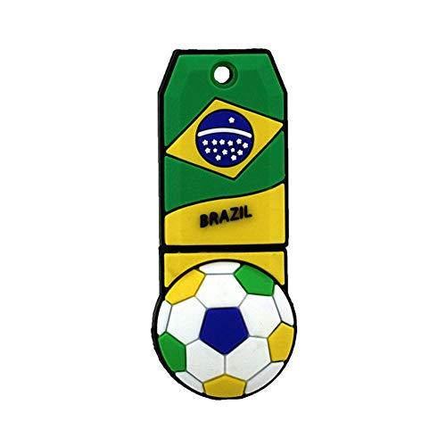Memorias USB Anime De Dibujos Animados Creativo Y Lindo FIFA Copa del Mundo Copa De Fútbol Mascota Logotipo del Equipo De Fútbol Regalo Personalizado Recuerdo PVC Portátil (8GB,Brazil)