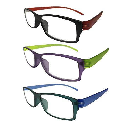 Palucart 3 Paia Occhiali da lettura presbiopia uomo occhiali da vista donna occhiali da vista dispositivo medico colori scuri (+3.00)