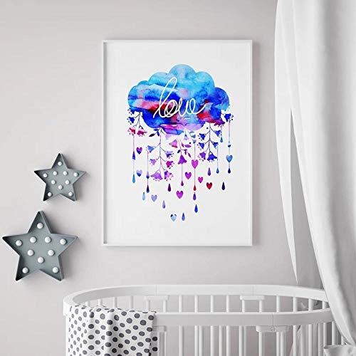 WSHIYI Acuarela Nube Y Lluvia con Corazón Arte De La Pared Cartel De Impresión Creativa Campanas De Viento Lienzo Pintura Bebé Niños Imagen / 42x60cm (16.5x23.6 Pulgadas) Sin Marco