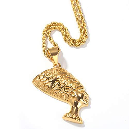 NICEWL Alte Ägyptische Königin Anhänger Halskette, Damen Männer Edelstahl Ägypten Nofretete Kopf Porträt Vintage Hip Hop Schmuck,Gold