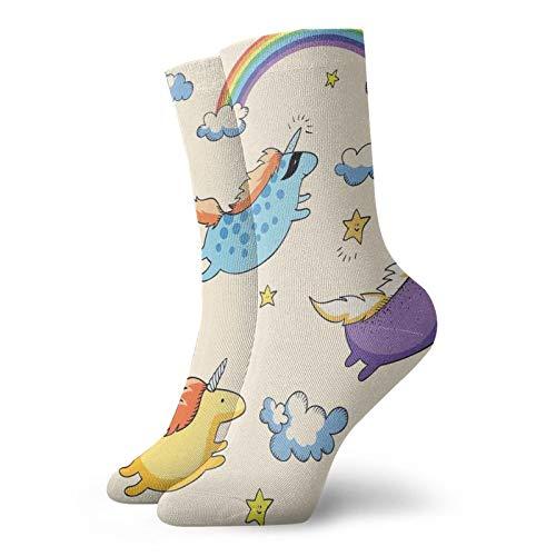 Calcetines suaves de longitud media pantorrilla, ilustración de colores pastel de varios unicornios voladores para bebés en el aire, calcetines para hombres y mujeres
