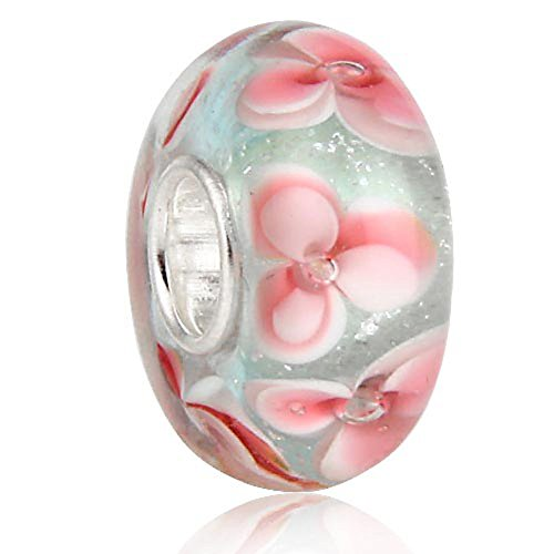 Murano Glass Beads 925 Sterling Silver Charms Flower Snowflake for European Bracelets by Sandcastle Jewellery (White)