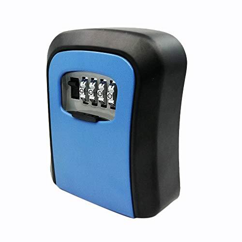 BOINN Azul Caja de Bloqueo de Clave de Contrase?A Caja de Llave de AleacióN de Zinc Montada en Pared Cerradura Almacenamiento Clave Combinada Resistente una Intemperie de 4 DíGitos