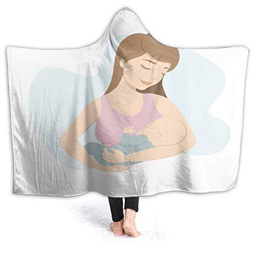 prunushome Hooded Blanket Woman Feeds Baby Breast Milk Lactation Motherhoo Ultra Soft Plush Sherpa Lined Leisure Wear, Wearable Warm Cozy Blanket, 60W by 50H Inches