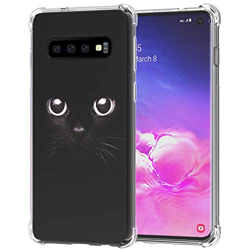 Galaxy S10 Case, Ailiber Black Cat White Eyes Cute Animal Gato Thin Light Design Shock Absorption Soft TPU Bumper Protective Cover for Samsung Galaxy S10 6.1 inch - Cat Eye