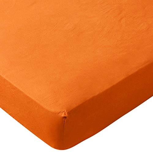 エムール ボックスシーツ ベッドシーツ オレンジ ダブル 綿100% 日本製 洗える 抗菌防臭 防ダニ 全周囲ゴム式 エムールカラー