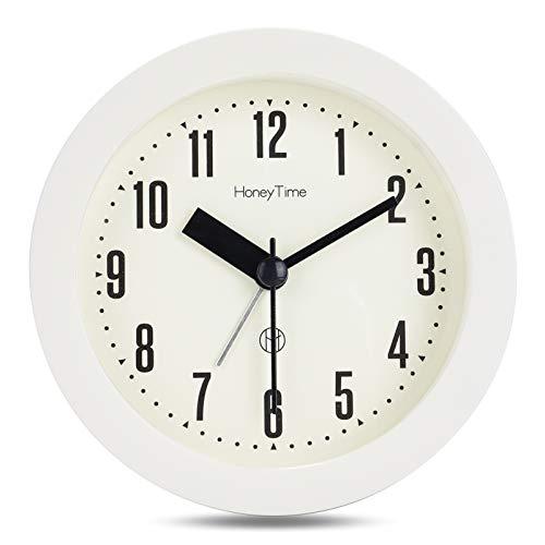 Lafocuse 9.5cm Despertador Viaje Mini Analógico Blanco Roto con Luz de Noche Reloj de Mesa Portátil Clasico Silencioso para Mesilla Dormitorio