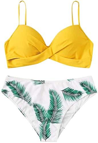 JWCN Bikini 2020 Damen sexy Mode Badebekleidung Blattdruck Split Badebekleidung Bikini Badeanzug Frauen Badeanzug Frauen Sexy Bikini Set Geeignet für Strandschwimmbad (Farbe: Gelb Größe: L)-L_Gelb Up