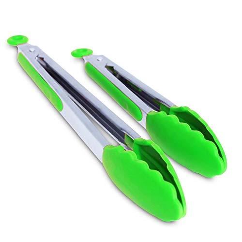 JRXyDfxn 2 Stück Grillzange Edelstahl Grillzange Griffige Grillzange mit Silikon-TIPP für das Kochen Servieren Essen (9in + 12in) Grün