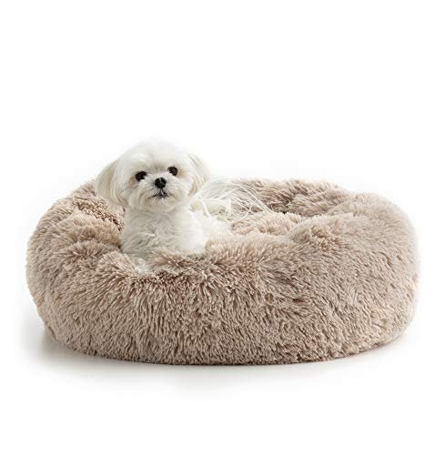 Brindle DonutCuddlerPetBed- PlushDog and Cat Bed - Cozy Shag Faux Fur-Ergonomic Design -Head and Neck Support, Small, Taupe