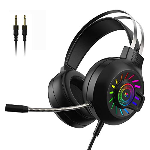 Gaming Headset PS4 Headset 3.5mm Stereo Wired Over-Head Gaming Headphone,RGB Rainbow Backlit, Professional Headphone Stereo Surround Sound,Noise Canceling Microphone for PC,PS4,Xbox One(Black)
