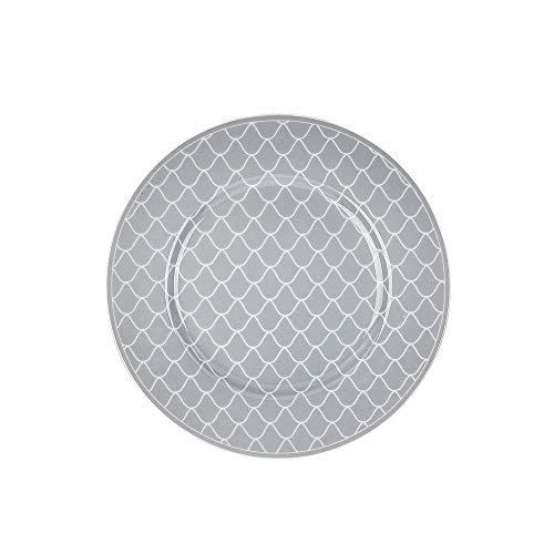 Krasilnikoff - Teller, Kuchenteller - Mermaid - grau, weiß - Porzellan - Ø20,5 cm