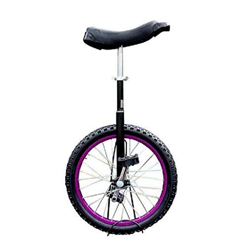 ZSH-dlc Freestyle Einrad 16/18/20 Zoll-Single-Runde Kinder Erwachsener Einstellbare Höhe Gleichgewicht Radfahren Übung Lila (Size : 20 inch)