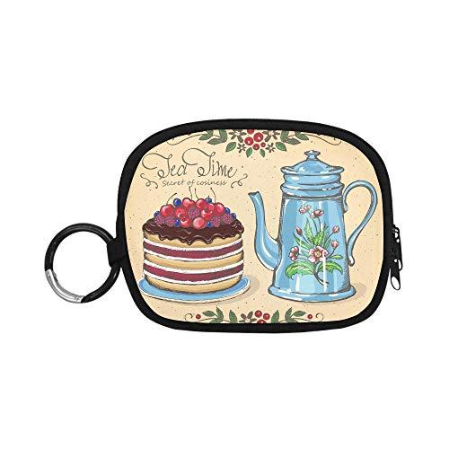 Junge Ändern Beutel Tee Zeit Beeren Kuchen Teekanne Geldbörse Ändern Beutel Benutzerdefinierte Geldbörse Reißverschluss Mit Schlüsselbund Ring Für Mädchen Frauen Kinder