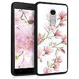 kwmobile Funda Compatible con Xiaomi Redmi Note 4 / Note 4X - Carcasa con diseño 3D - Protector Trasero con impresión Tridimensional - Magnolias Rosa Claro/Blanco