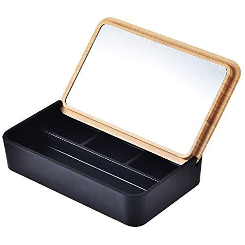 Espejo de Maquillaje De Sobremesa Caja de Almacenamiento de Joyas Multifuncional con Espejo Caja de Almacenamiento Acabado de Escritorio para Collares y Pendientes,Negro