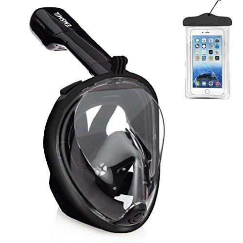 Emsmil Máscara de Buceo para Snorkel 180 Vista Panorámica Fácil Respiración Máscara Completa Anti-Niebla y Anti-Fugas Soporte Cámara GoPro con Bolsa de Teléfono Impermeable para Niños Adultos Negro