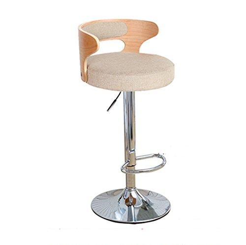 Ali@ Chaise élégante pivotante Chaise de bar chaise de bar Chaise de montée Tabouret de bar Chaise de dossier en bois massif Chaises de réception Tabouret haut (Couleur : Khaki 1)