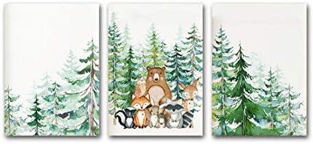 Woodland Animal Print Nursery Wall Art Painting Nordic Poster Cartoon Canvas Painting Fox Deer product image