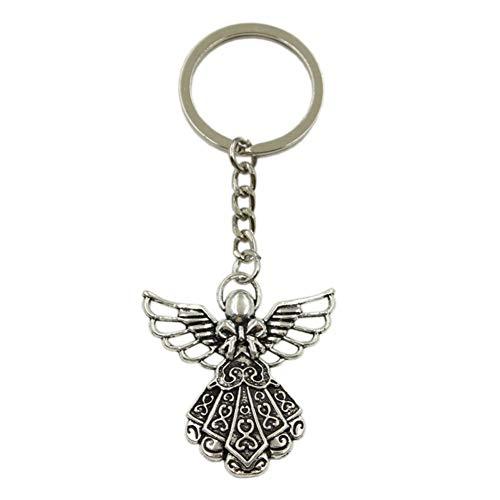 N/ A SGDONG beschermengel hanger sleutelring metalen ketting zilver kleur mannen auto geschenk souvenirs sleutelhanger
