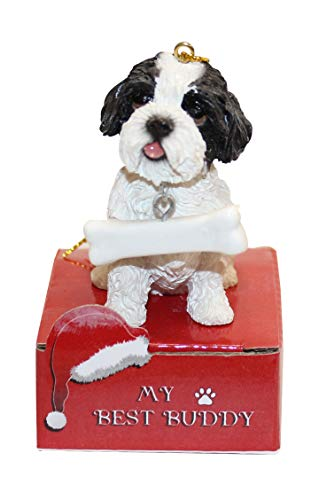 E&S Imports Dog Ornament - Cat Ornament - Easy to Personalize - Handcrafted and Hand Painted - Perfect Dog Gifts - Christmas Ornament (Shih Tzu)