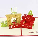 BC Worldwide Ltd papier fait main origami papierart 3D popup Christmas Xmas carte cheminée canapé fauteuil canapé bougies cadeaux présente des cartes de souhaits rouge vert or Soyez le premier à donner votre avis sur cet article