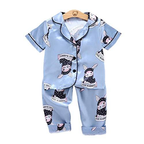 fedsjuihyg Bebé Ropa De Dormir Ropa De Dormir Pijamas De Manga Corta Pelele De Verano para El Niño Azul 130cm 2pcs Ropa Cómoda Y Linda