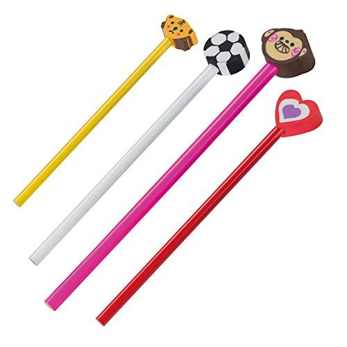 4 Bleistifte / HB / mit Motiv Radierer / je 1x Herz, Fußball, Teddy und Affe