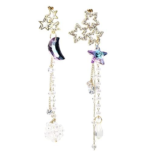Holibanna 1 par de Pendientes Colgantes Asimétricos Estrella Borla Oreja Gota Colgantes Pendientes Pendientes Largos Escaladores de Cadena para Mujeres Niñas Cumpleaños Regalos Púrpura