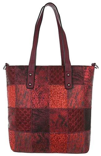 Dudlin Stylische Damen Schultertasche, Handtasche, Shopperbag in hochwertiger Lederoptik (red)