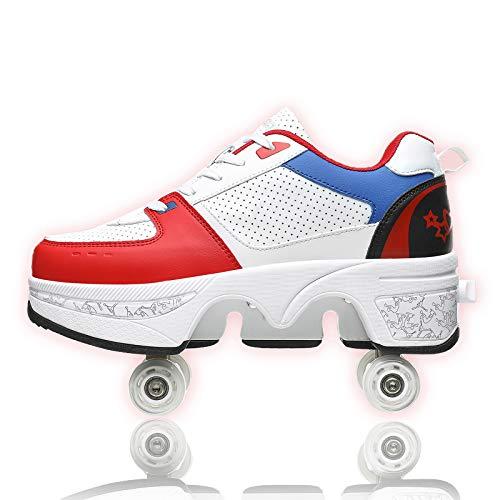 JZIYH Doble Fila Deformación Patines De 4 Ruedas Automática Zapatos Que Caminan Rodillo Invisible del Patín 2 En 1 Extraíble Polea Patinaje Patines,White+Blue+Red,36