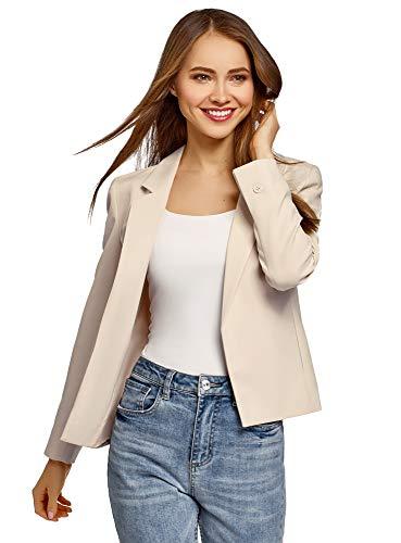 oodji Ultra Damen Taillierter Blazer ohne Verschluss, Beige, DE 34 / EU 36 / XS