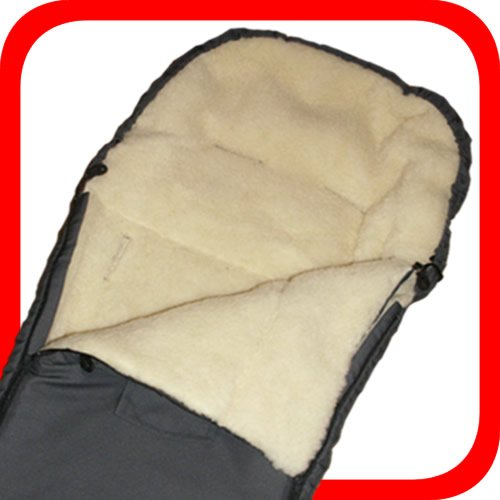 Baby Universal Fußsack, 100% Lammwolle, grau/anthrazit