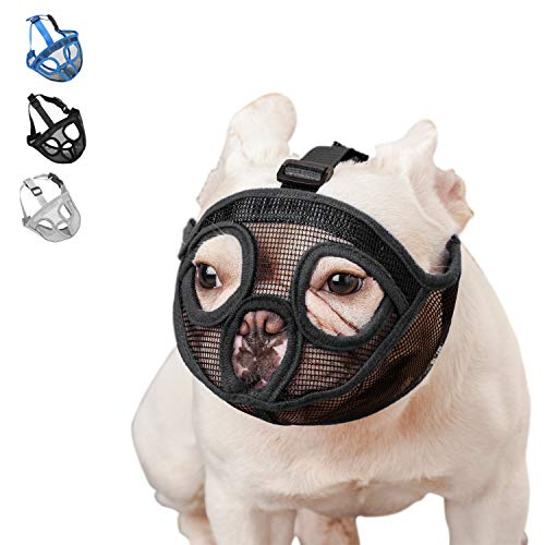 wintchuk Short Snout Dog Muzzle Mesh Mask-Stop Dog for Biting Barking Chewing, Adjustable(S, Black)