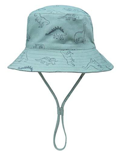 Foruhoo Baby Sonnenhut Kinder Hut, Sommerhut Mütze for Jungen Mädchen mit Verstellbar Kordelzug (54, Dinosaurier Grün)