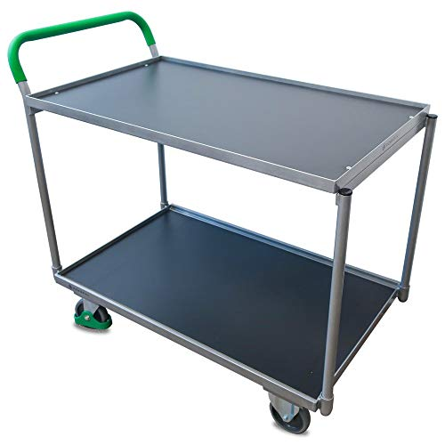 Tischwagen Hemmdal PRO - Profi Kommissionierwagen 2 Etagen | Tragkraft 250 kg | Ladefläche 1000x600 mm | Gummireifen - spurlos & geräuscharm