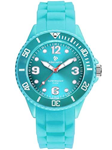 Alienwork Lernuhr Kinderuhr Mädchen Uhrzeit Lernen Türkis Silikon-Armband Kinder-Uhr Damen Wasserdicht 5 ATM