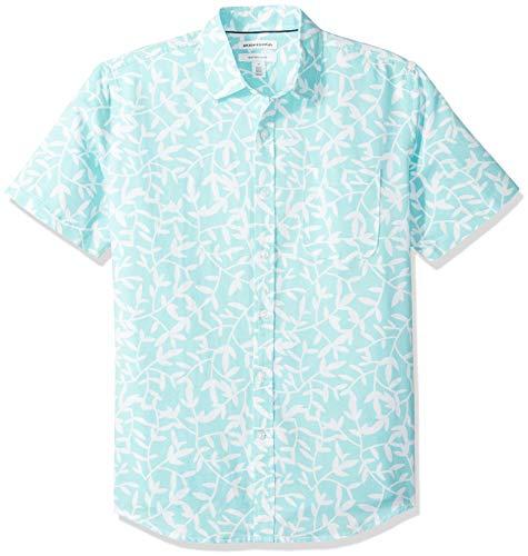 Amazon Essentials Herren-Hemd, Kurzarm, reguläre Passform, bedruckt, aus Leinen, Aqua Leaf Print, US L (EU L)