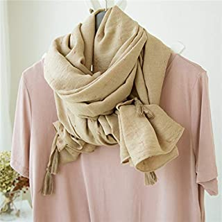 Winter Long Scarf Scarf Female Silk Scarf Spring and Autumn Cotton and Linen Dual-use Multi-Purpose Shawl Holiday Beach Towel Shawl Female Winter (Color : Orange) Winter Soft Scarf (Color : Beige)