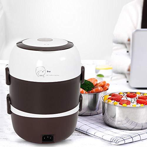 Kaibrite Fiambrera eléctrica de 3 capas, portátil, para cocinar al vapor, olla...